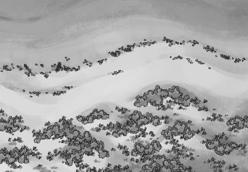 Beach Dunes Battle Map, black & white