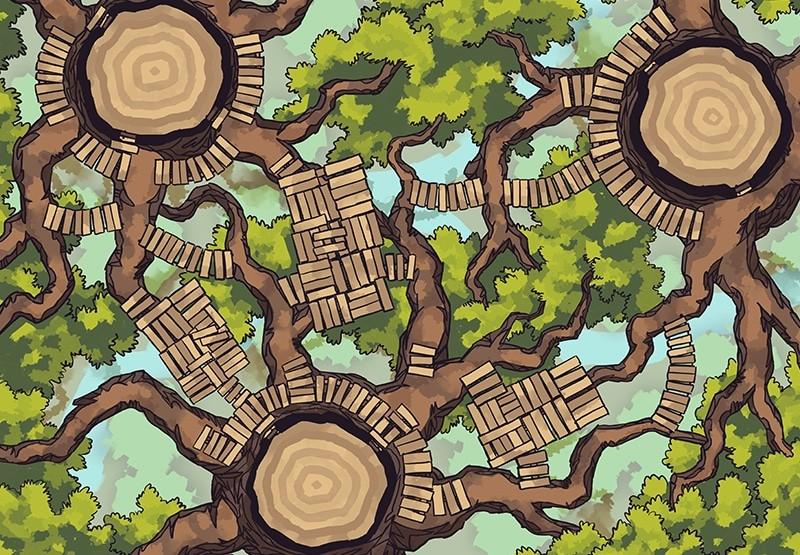 Oakenspire Treetops battle map, color