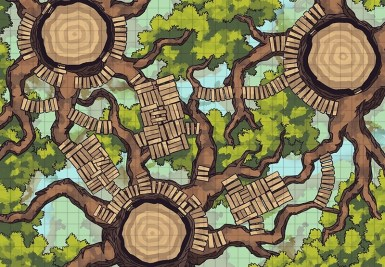 Oakenspire Treetops battle map, grid