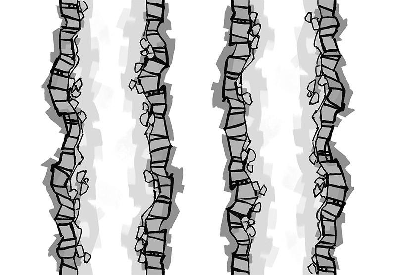 Cave Tunnels battle map tiles, black & white