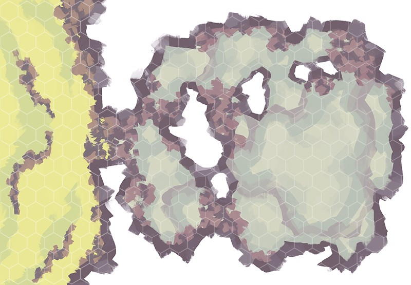 Monster Lair RPG Battle Map, Hex Grid