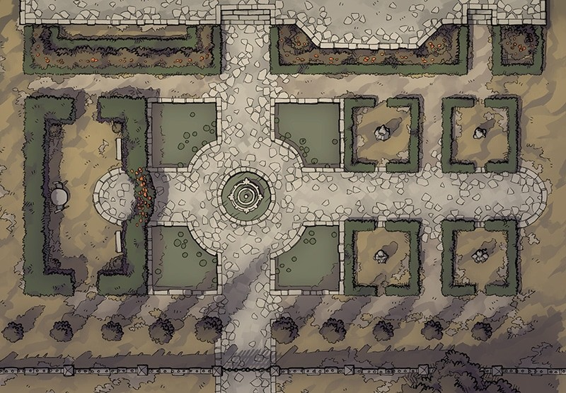 Haunted Garden RPG battle map, color