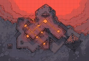 Volcanic Forge RPG Battle Map, square grid