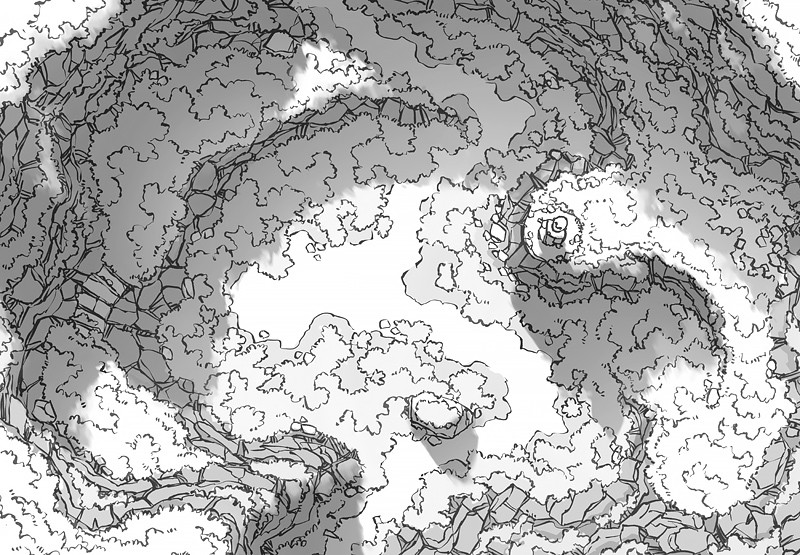 Highland Pass battle map, black & white greyscale