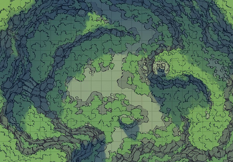 Highland Pass battle map, color, square grid