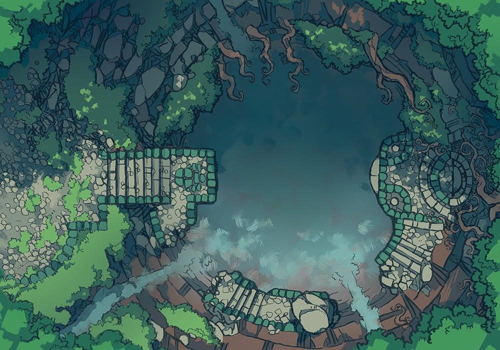 Jungle Temple RPG battle map, color