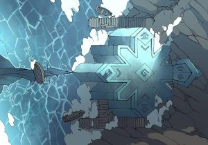 Ice Temple frozen lake RPG battle map, color