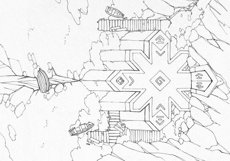 Ice Temple frozen lake RPG battle map, line art