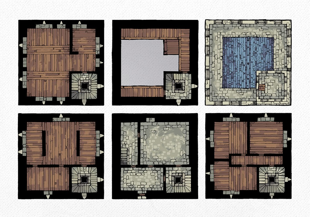 Square Keep Battle Map, all floors