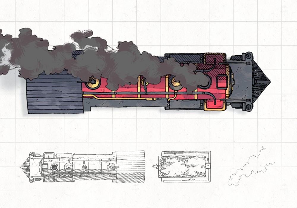 Steam Locomotive RPG Battle Map, Preview