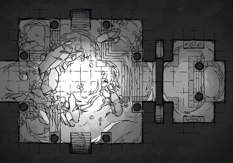 Crumbling Desert Tomb Battle Map – Black & White