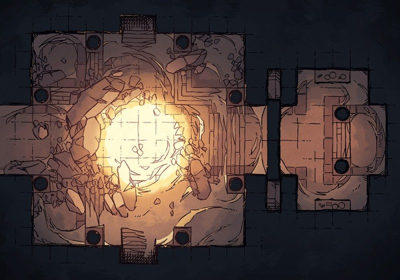 Crumbling Desert Tomb Battle Map – Color Preview