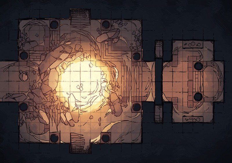 Crumbling Desert Tomb Battle Map – Grid Preview