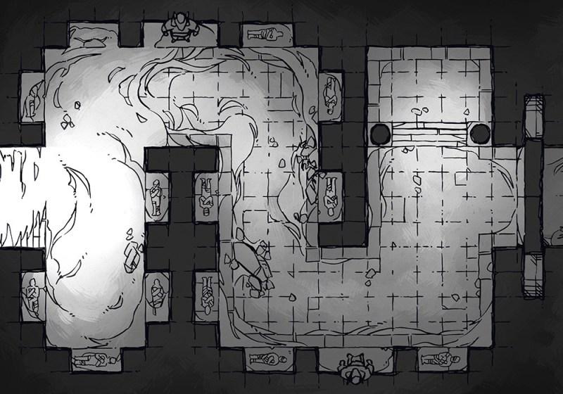 Winding Desert Catacomb Egyptian Battle Map, Black & White Preview