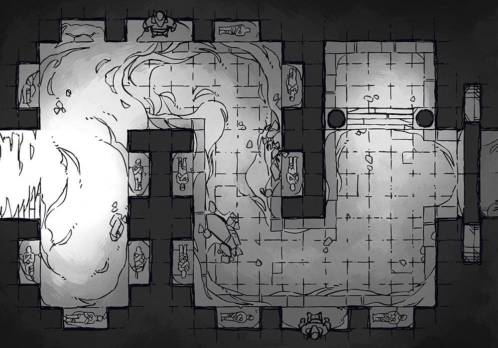 Winding Desert Catacomb Egyptian Battle Map, Black & White Preview