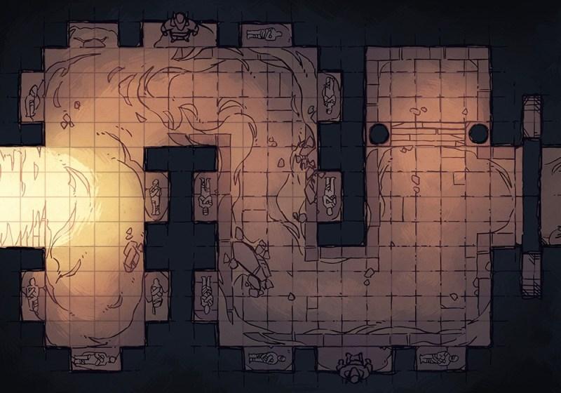 Winding Desert Catacomb Egyptian Battle Map, Grid Preview