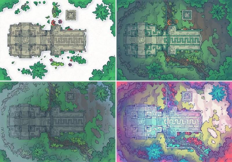 Jungle Podium battle map, map variants