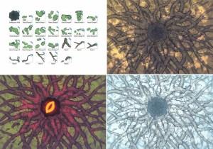 Ancient Tree Roots Fantasy Battle Map - Variants