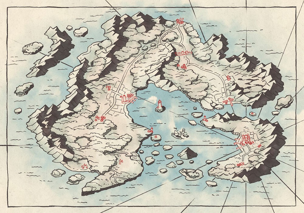 Arvyre Continent Map (23x16) Minimal