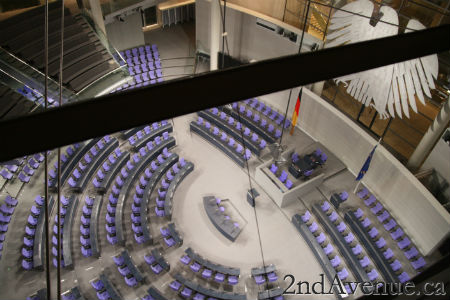 The German parliament chamber with its Reichstag blue seats