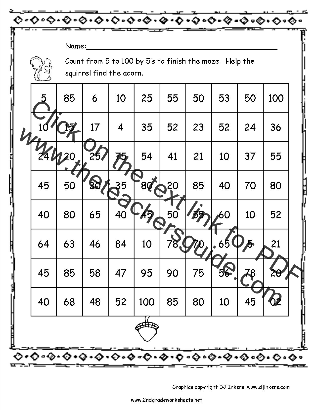 Kintergarden Worksheet 100