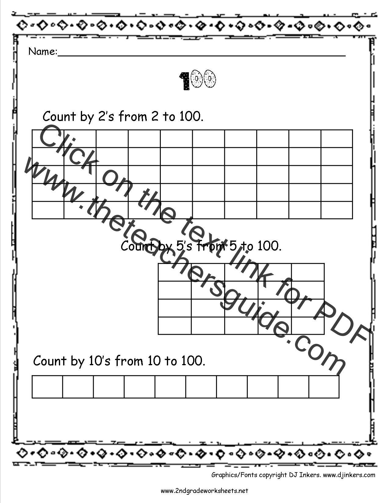 Skip Counting Worksheets 100