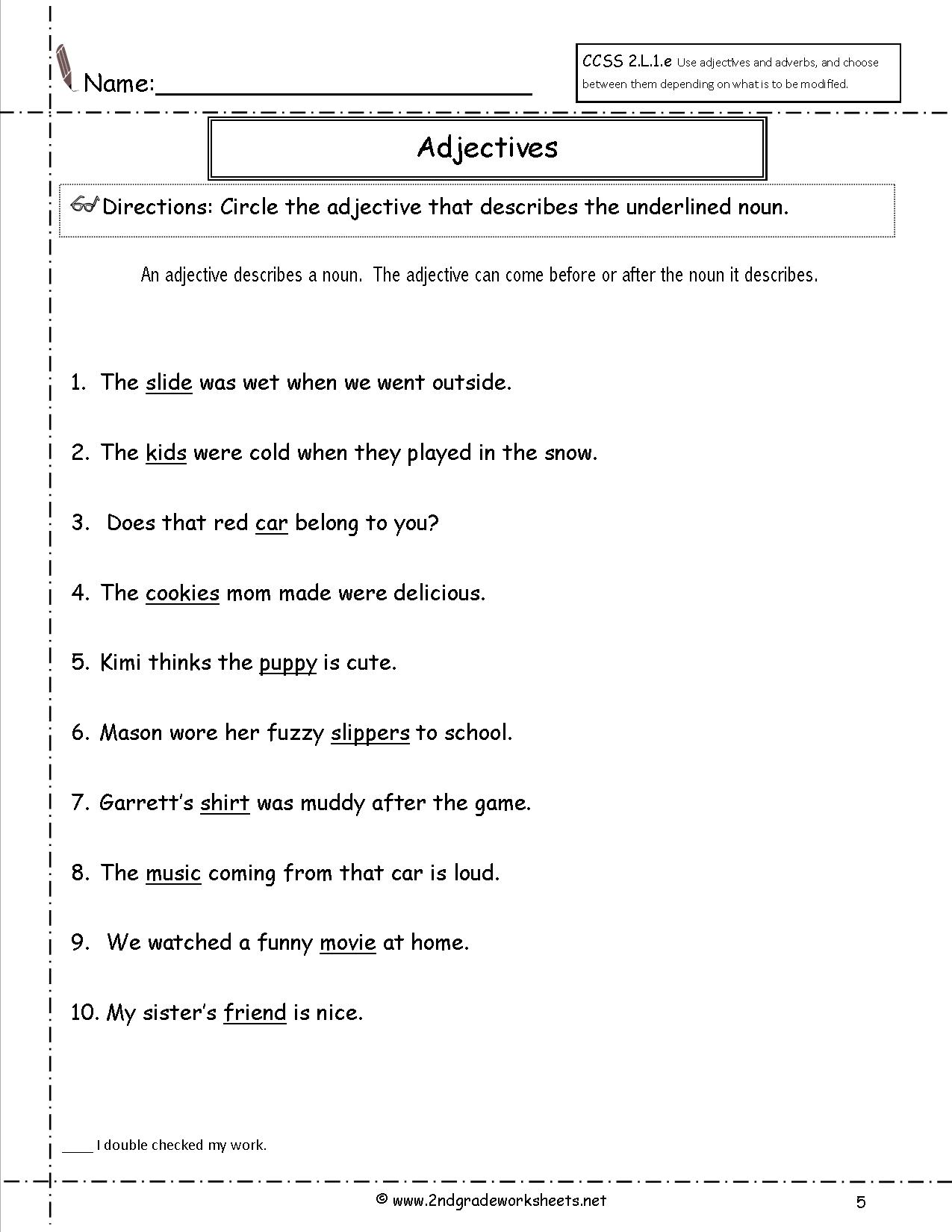 Circle Underline Verb Noun Worksheet