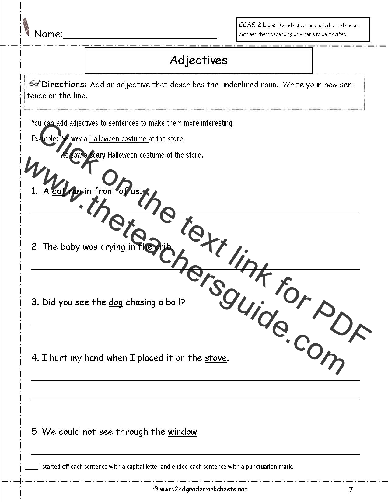 Printables Of Adjective Worksheet For 2nd Grade