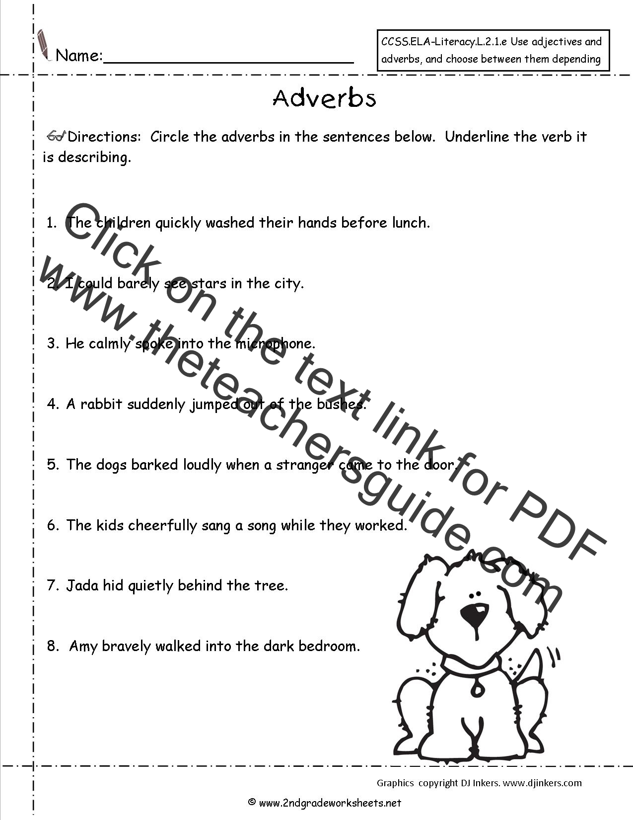 Worksheet About Adverbs