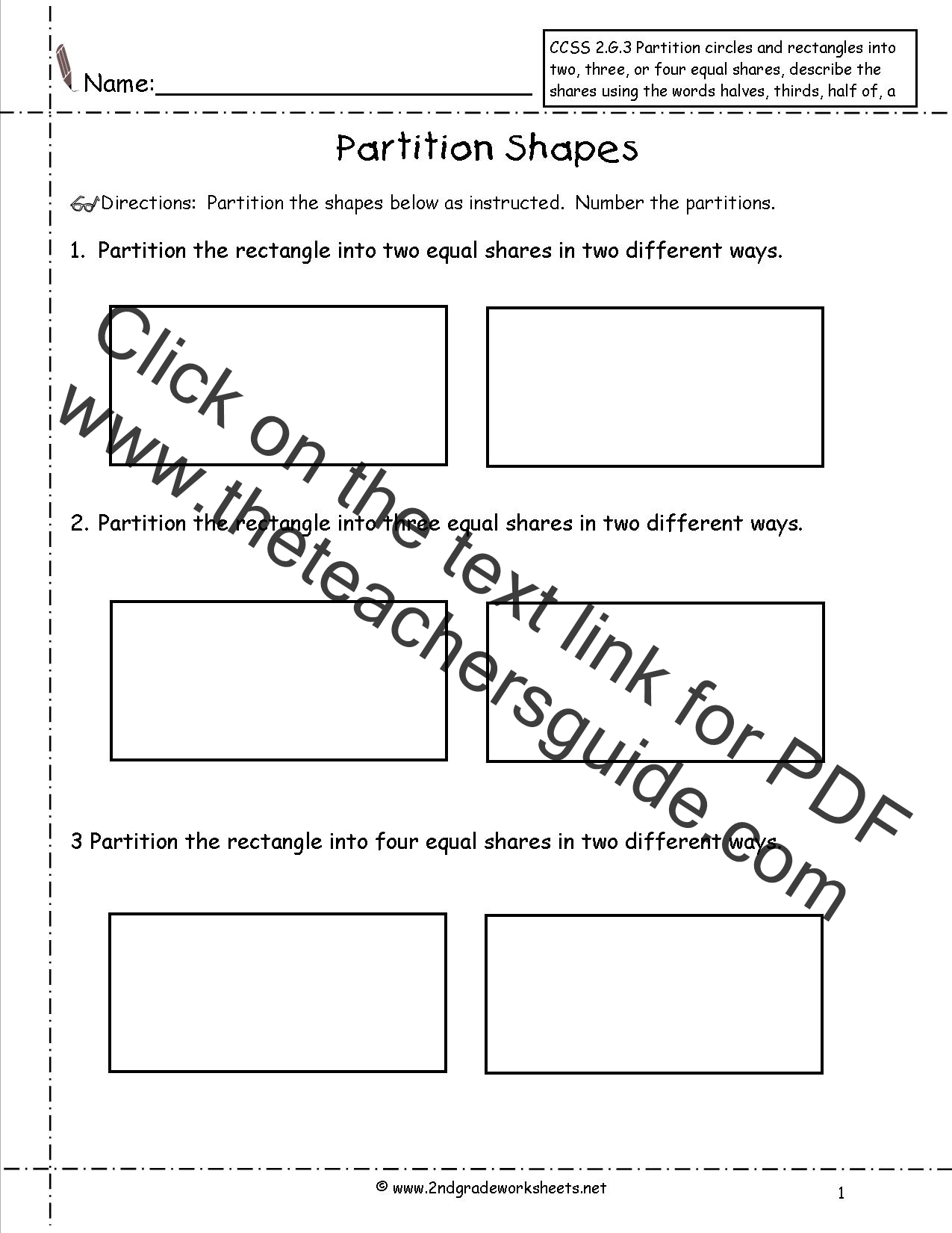 Ccss 2 G 3 Worksheets Partition Shapes