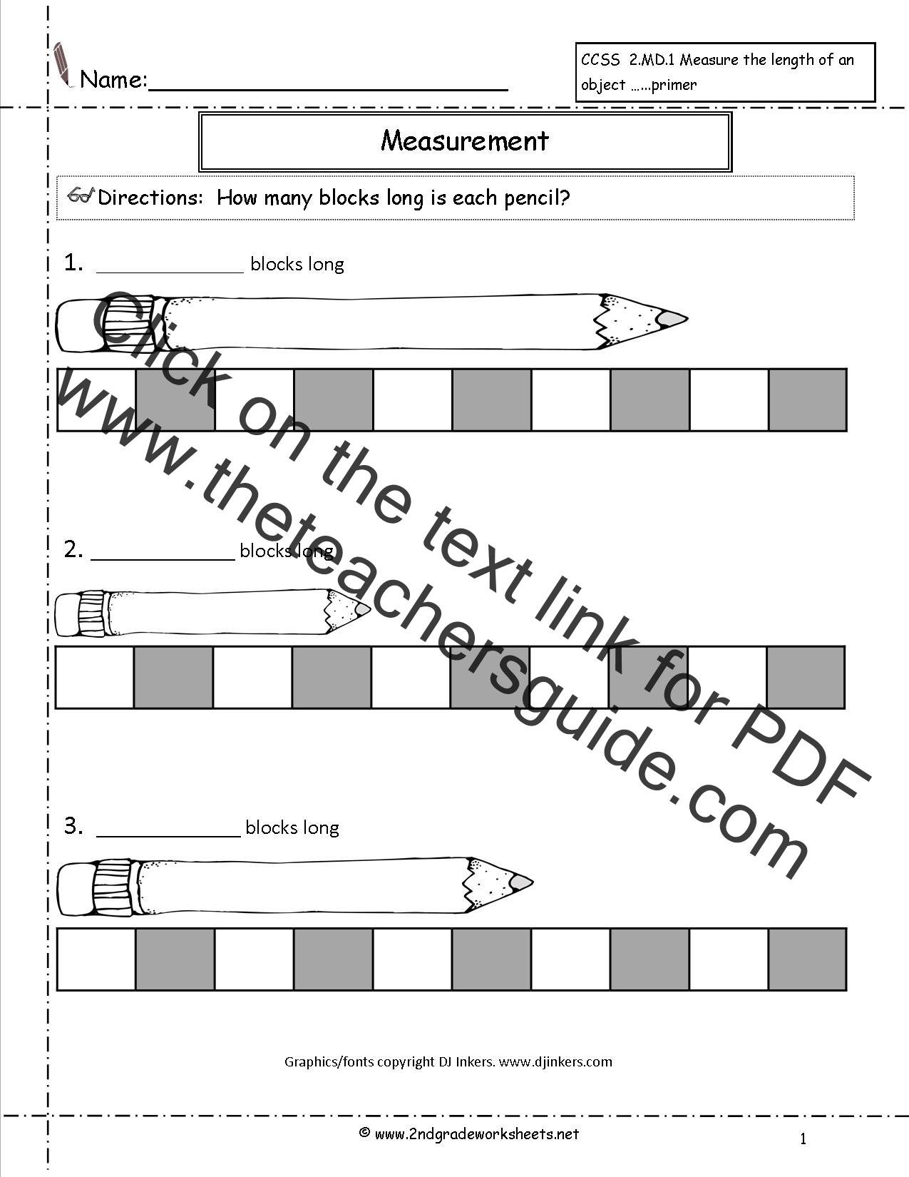 Non Standard Measurement Worksheets