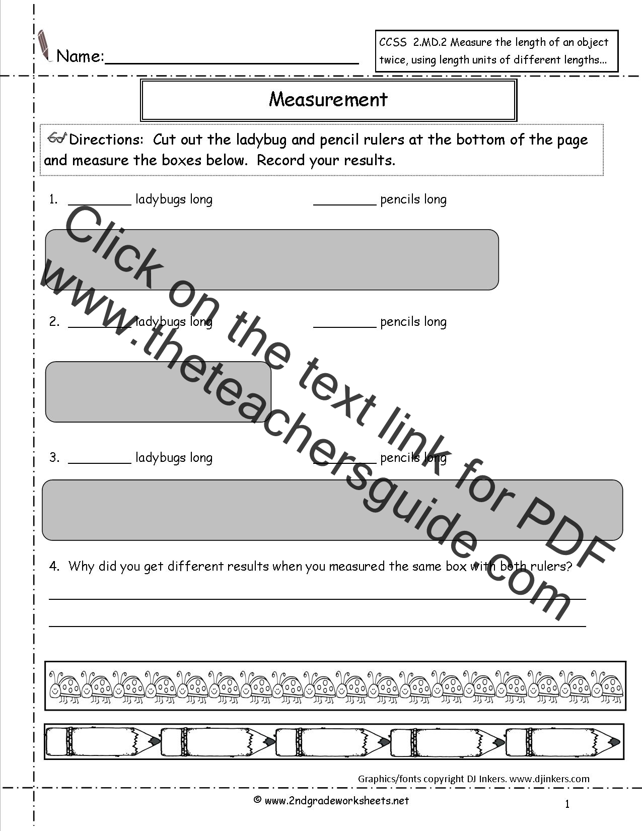 Worksheet Non Standard Measurement Worksheets Grass