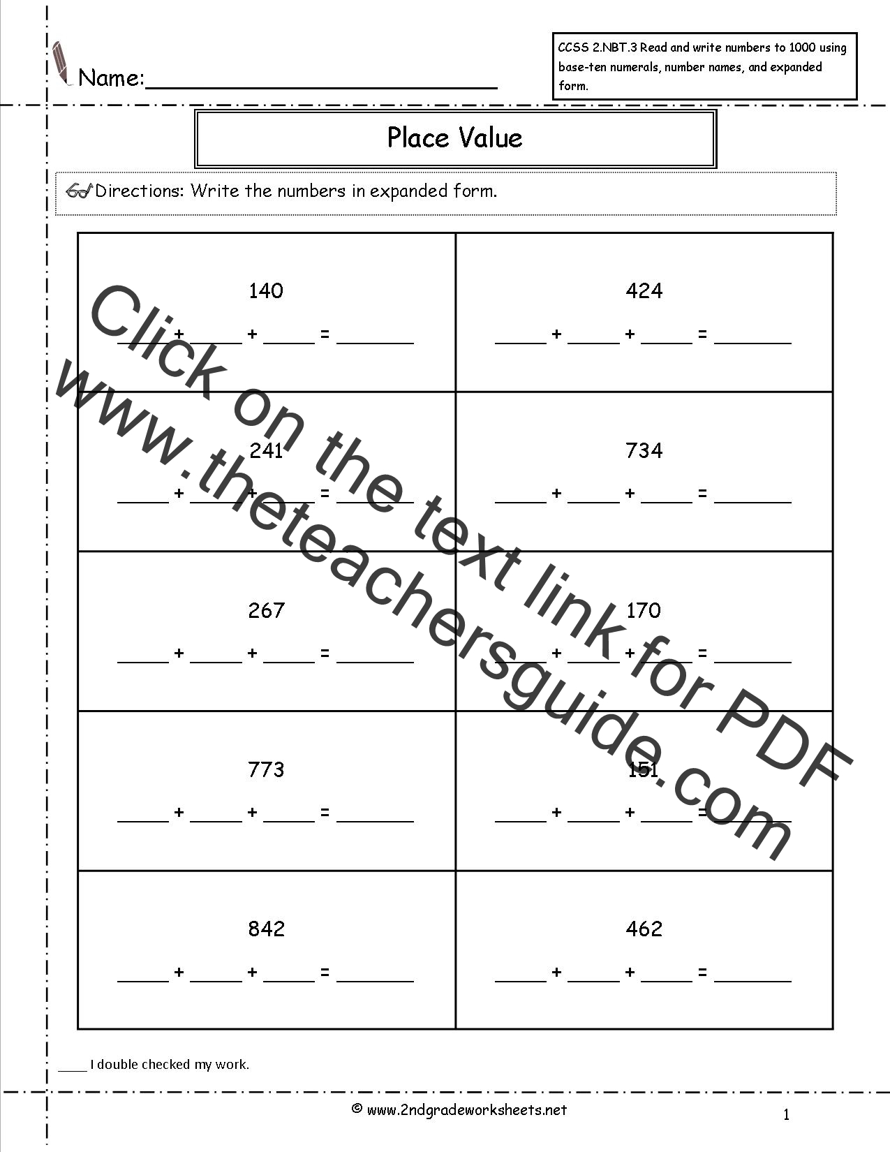 4th Grade Math Common Core Place Value Worksheets