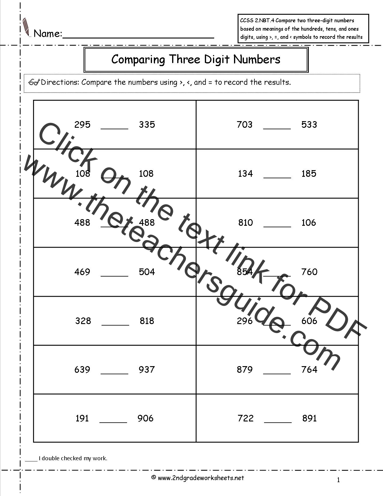 Ccss 2 Nbt 4 Worksheets Comparing Three Digit Numbers
