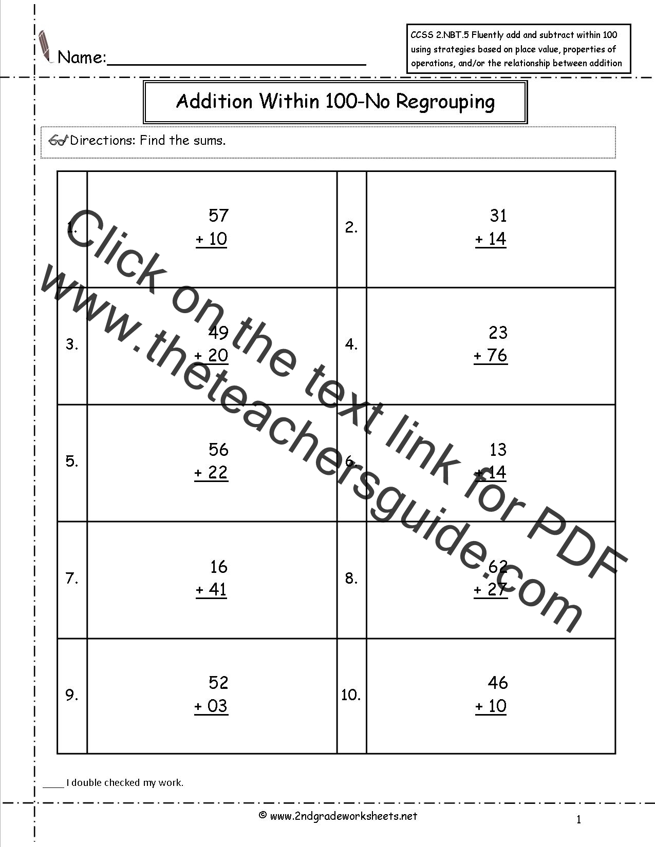 First Grade Two Digit Addition Worksheets