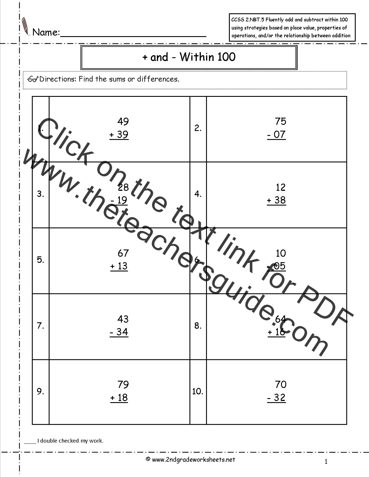 Ccss 2 Nbt 5 Worksheets Two Digit Addition And