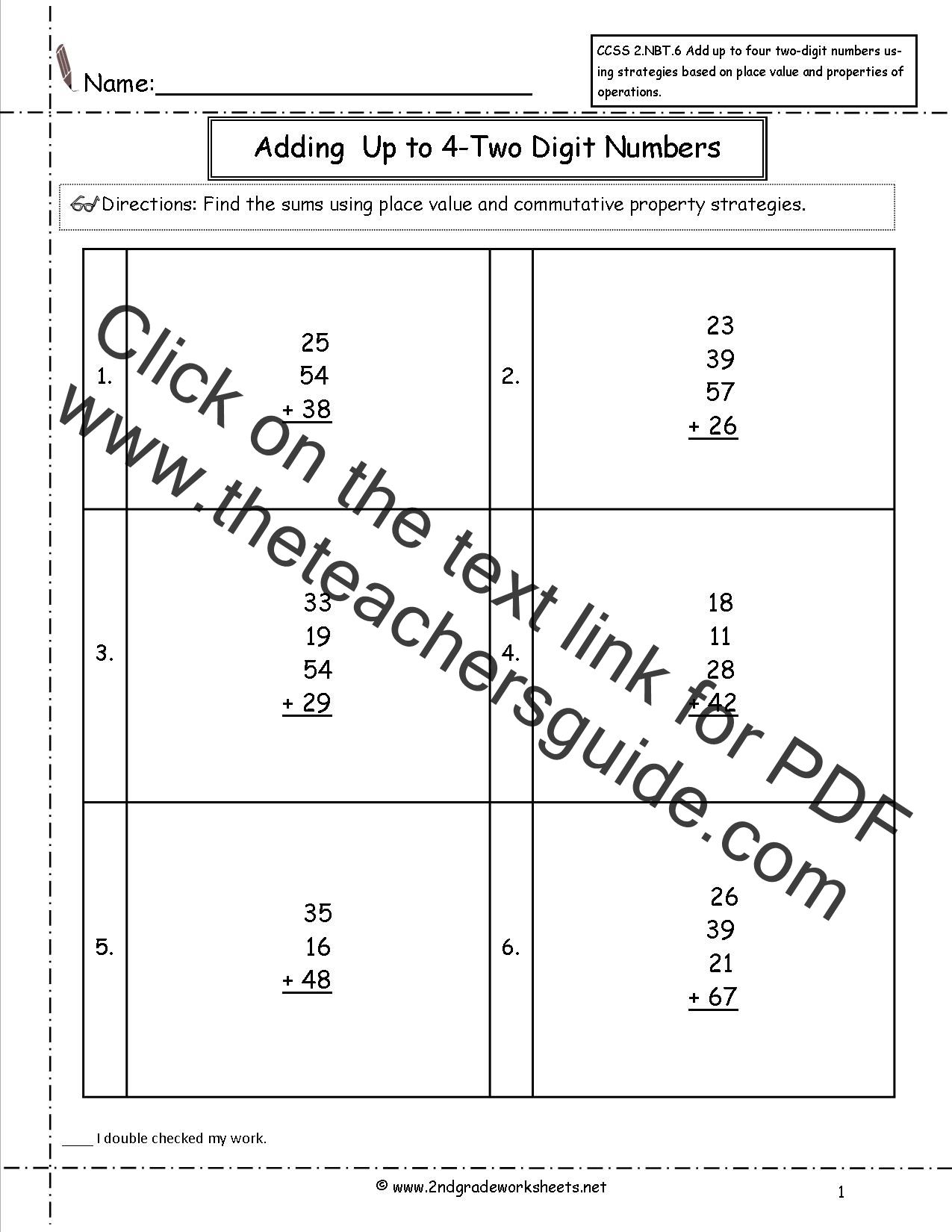 Grade Math Worksheet Addition Adding Four Digit Numbers