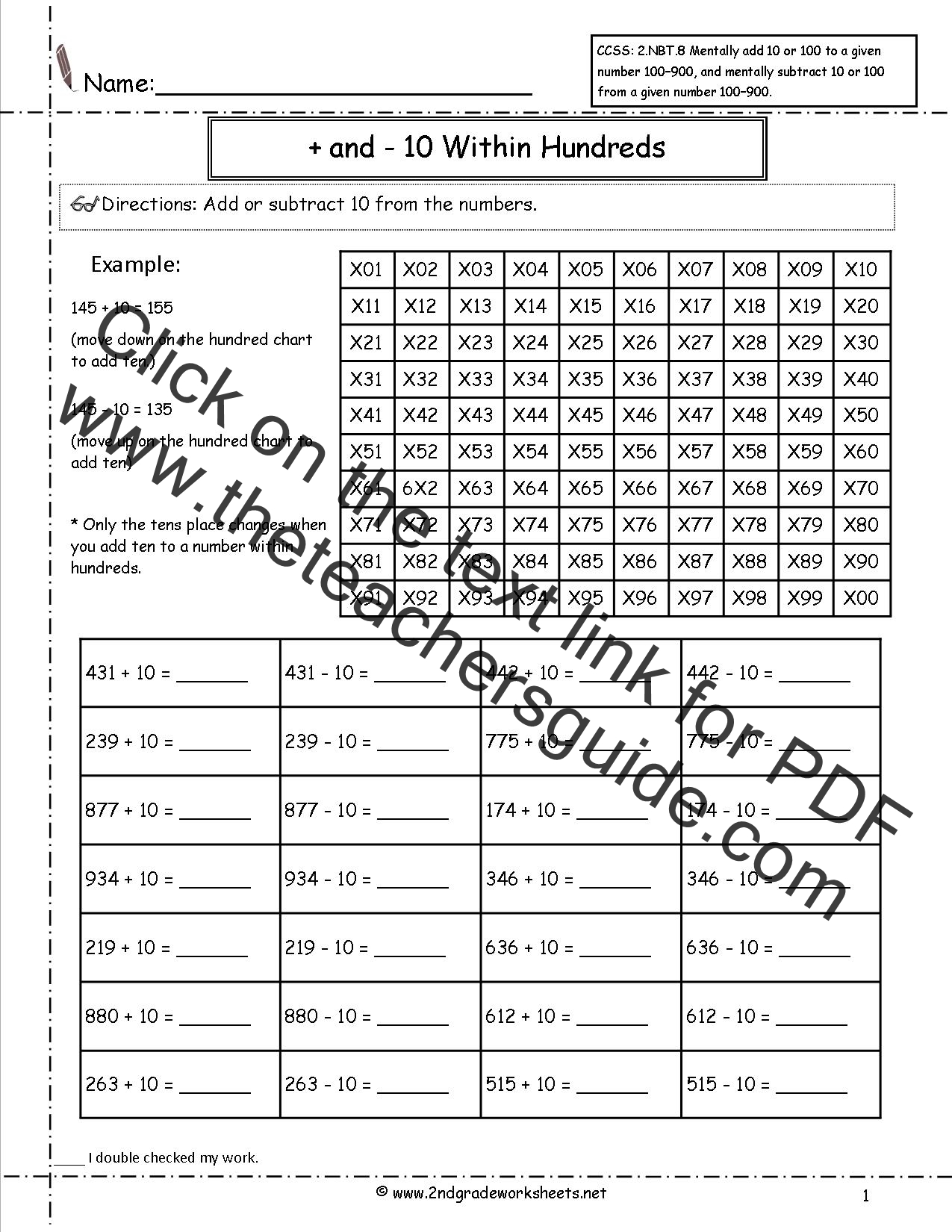 Ccss 2 Nbt 8 Worksheets Adding And Subtracting 10 And 100 From A Given Number