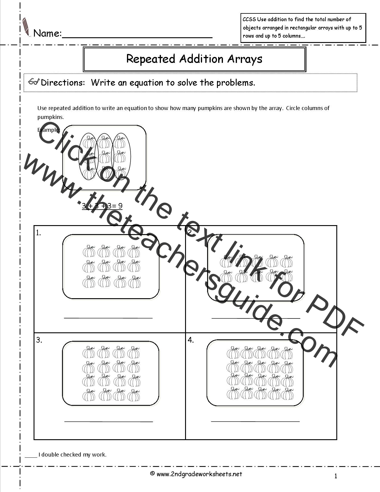 Multiplication Arrays Worksheets 3rd Grade