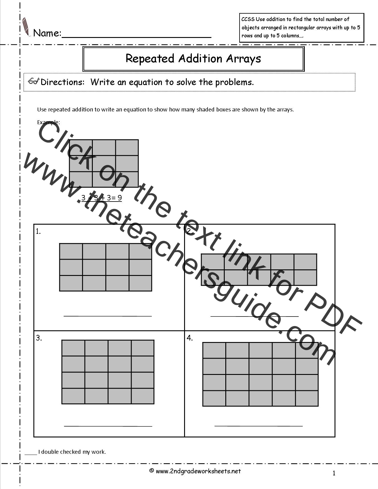 Multiplication As Repeated Addition Worksheet For Grade 3