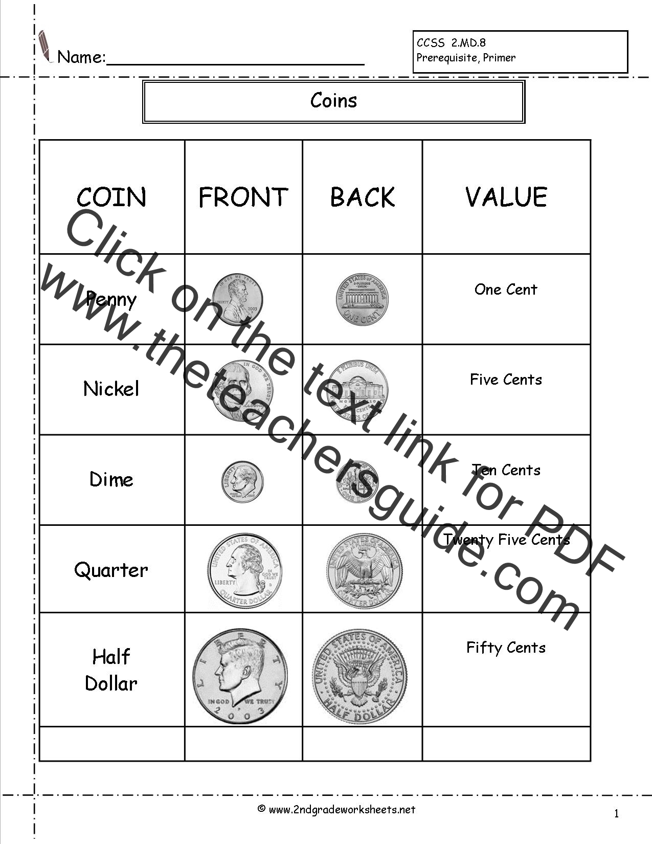 Counting Coins And Money Worksheets And Printouts