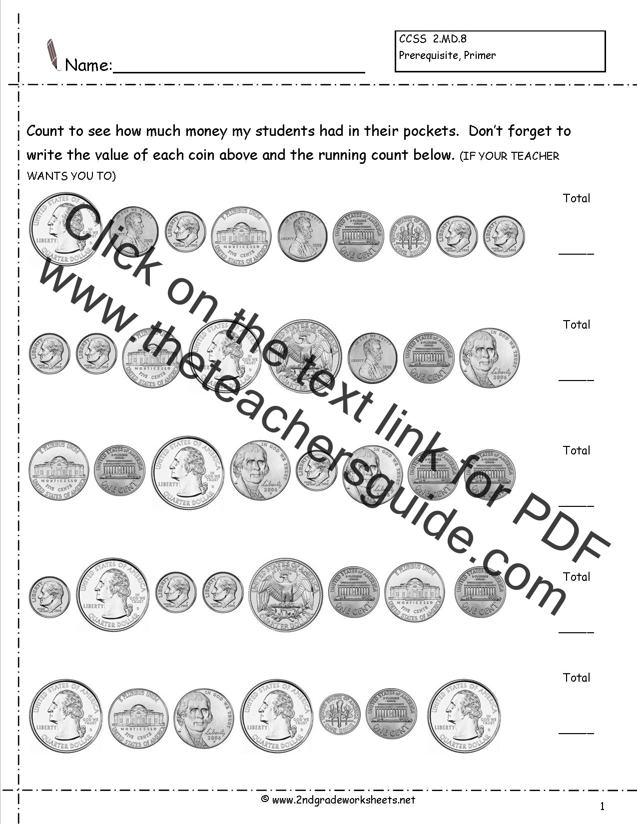 1st Grade Coin Counting Worksheets Reading Skr Token Download Gratis