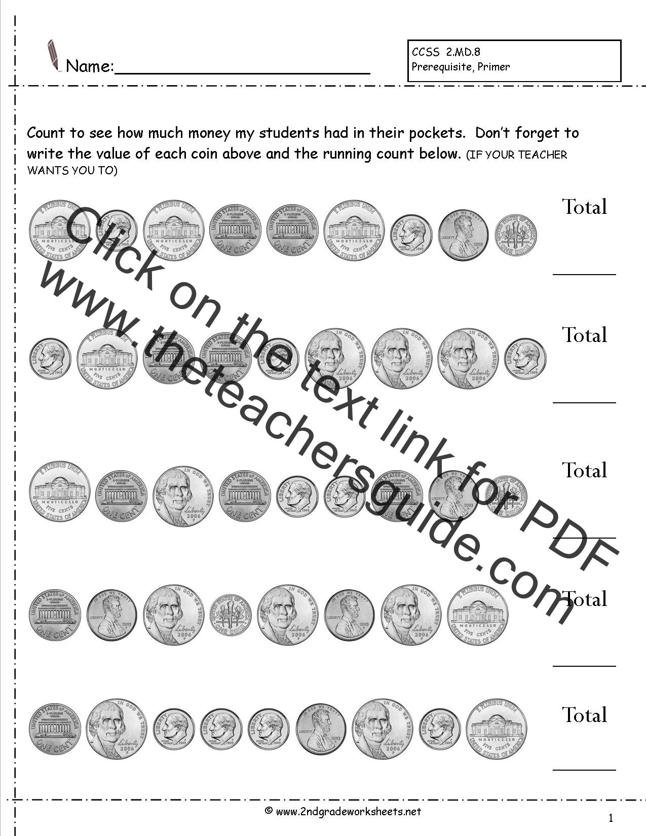 Free Printable Counting Money Worksheets For 2nd Grade