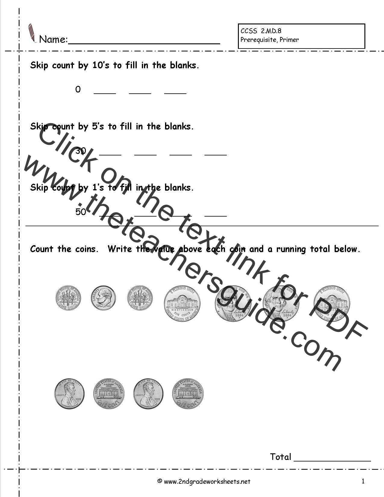Counting Bills And Coins Printable