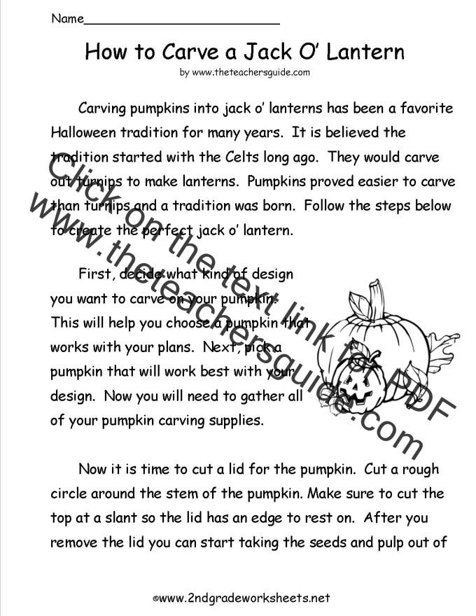 Halloween Reading Worksheets Free Printable Frameimage