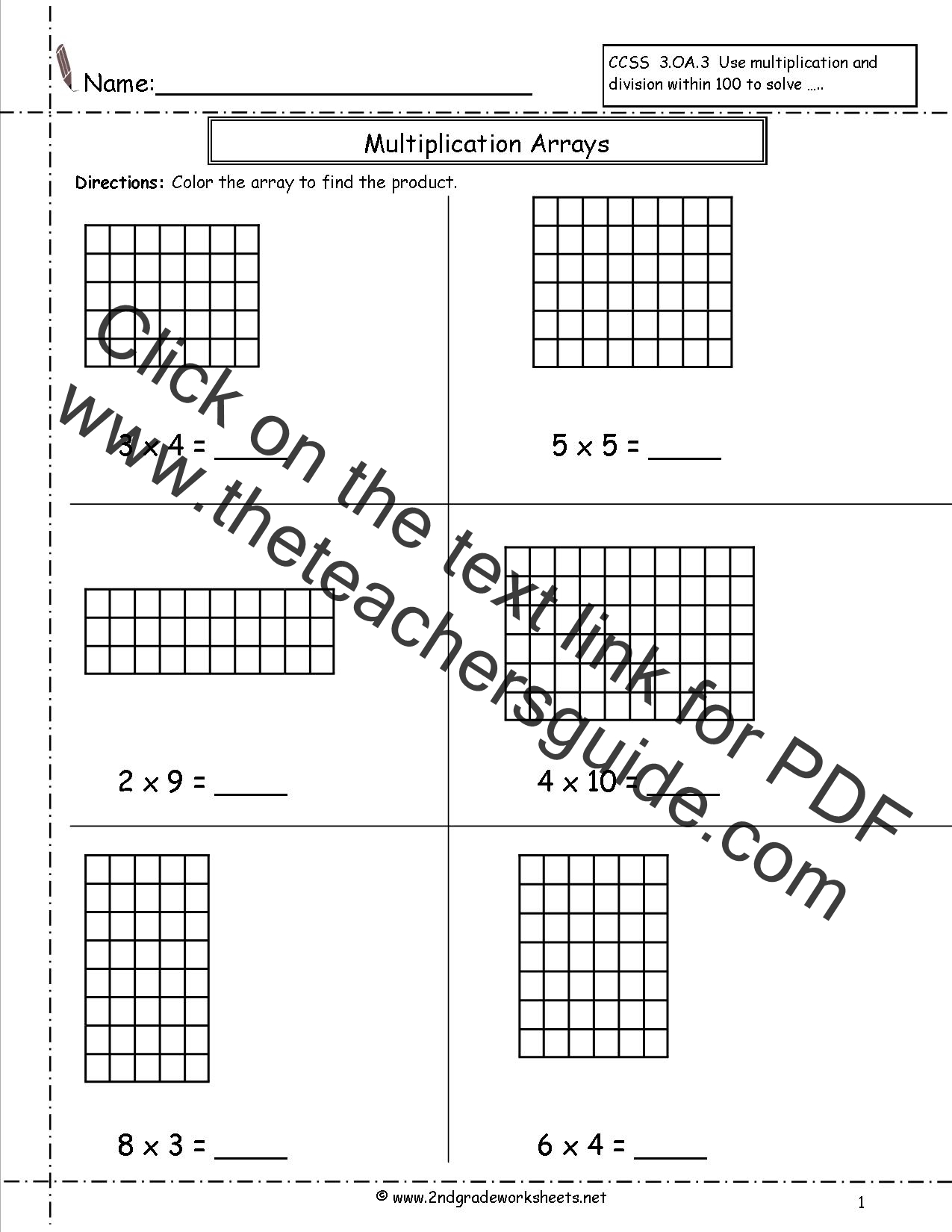 Area Model Multiplication Worksheets