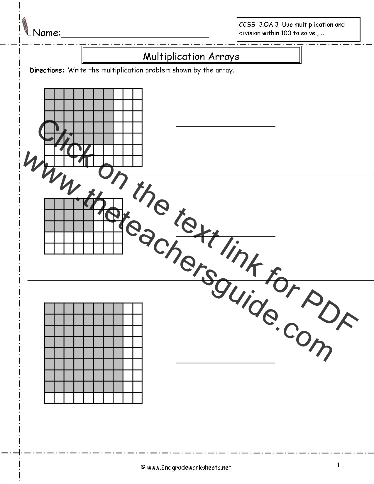 Multiplication And Division Arrays Worksheets