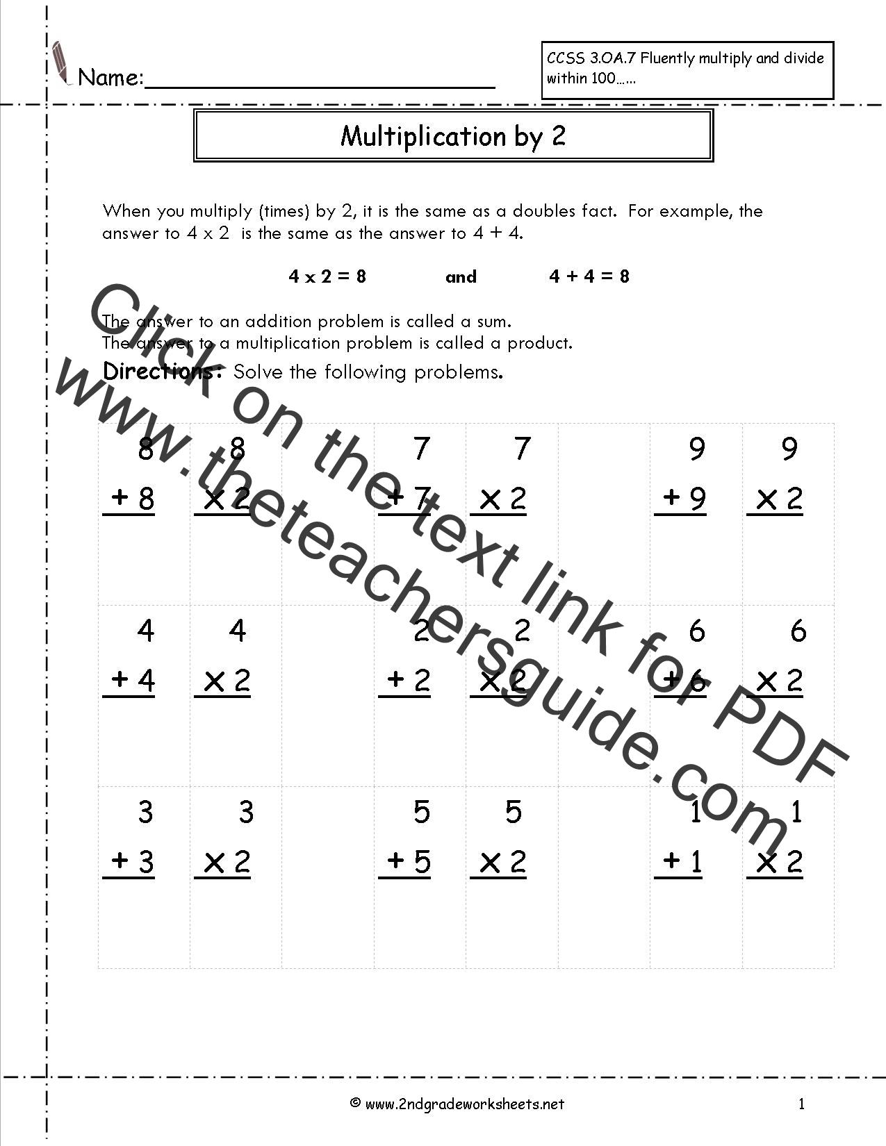 Multiplication Worksheet X2