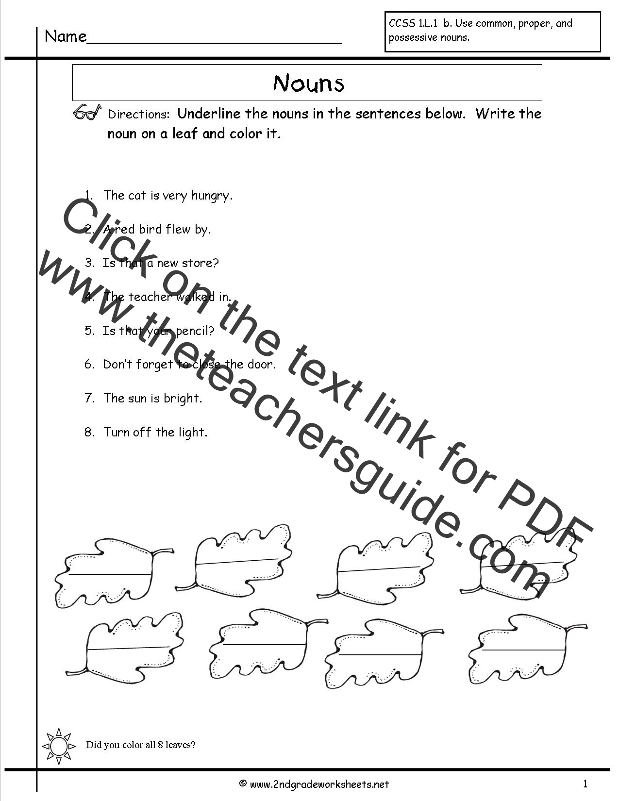 Identification Worksheet On Nouns