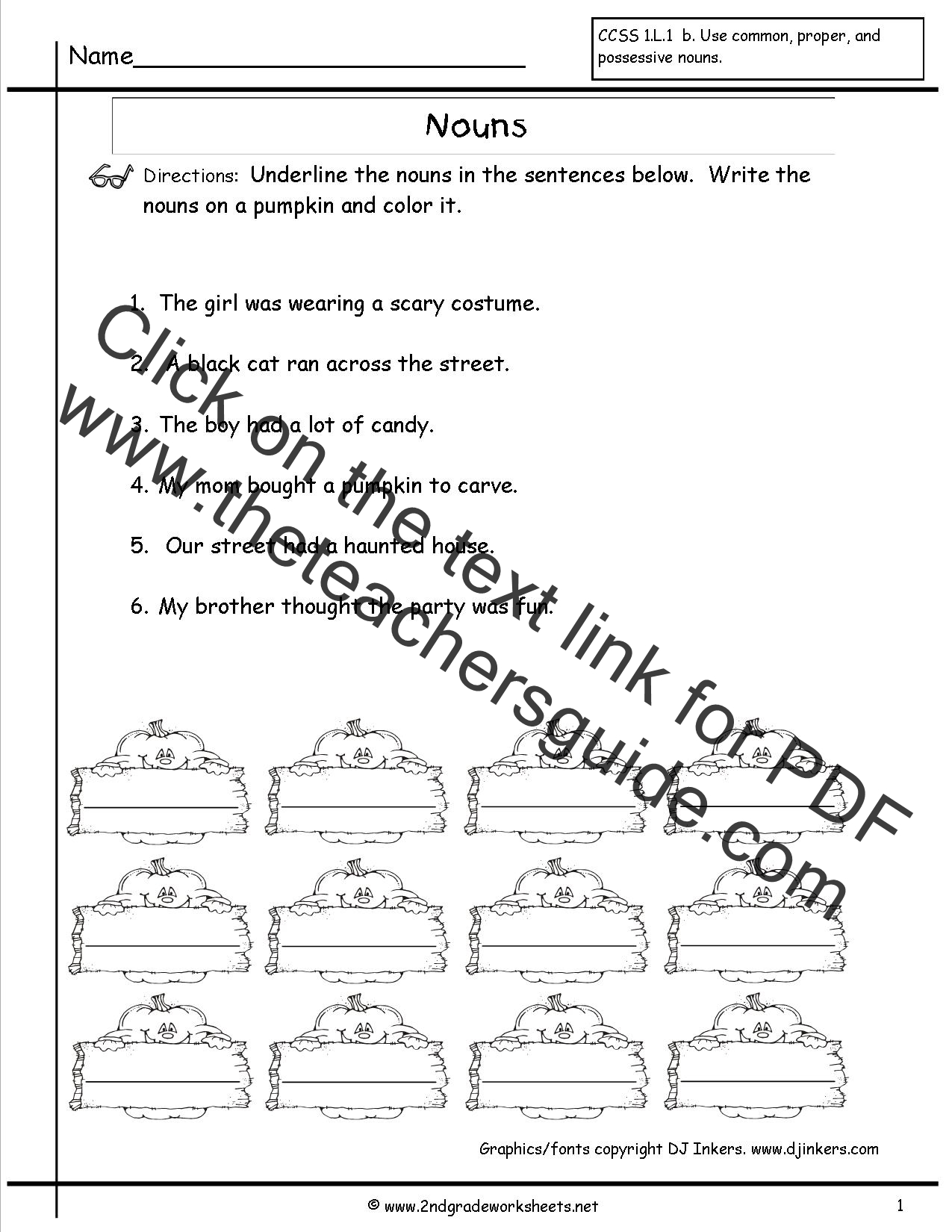 Ambitious Printable Noun Worksheets